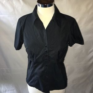 CYNTHIA STEFFE Black short sleeve button up top 4